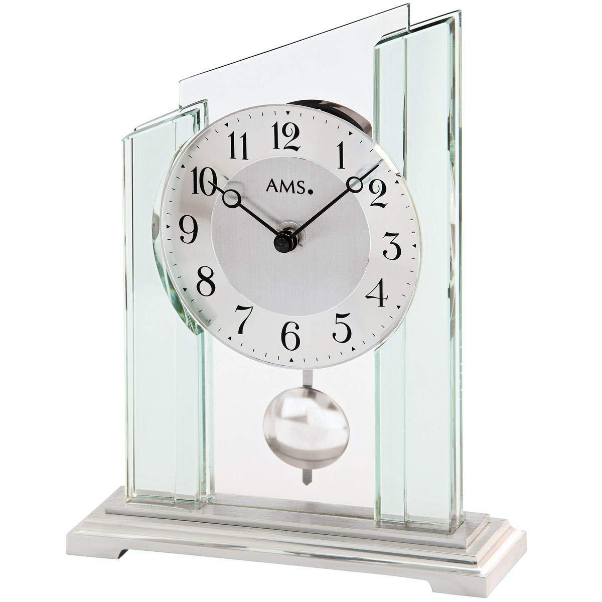 Unbekannt Ams Tischuhr Tischuhr Tischuhr Pendeluhr Quarzuhr mit Pendel Mineralglasgehäuse auf Metallsockel 2b579e