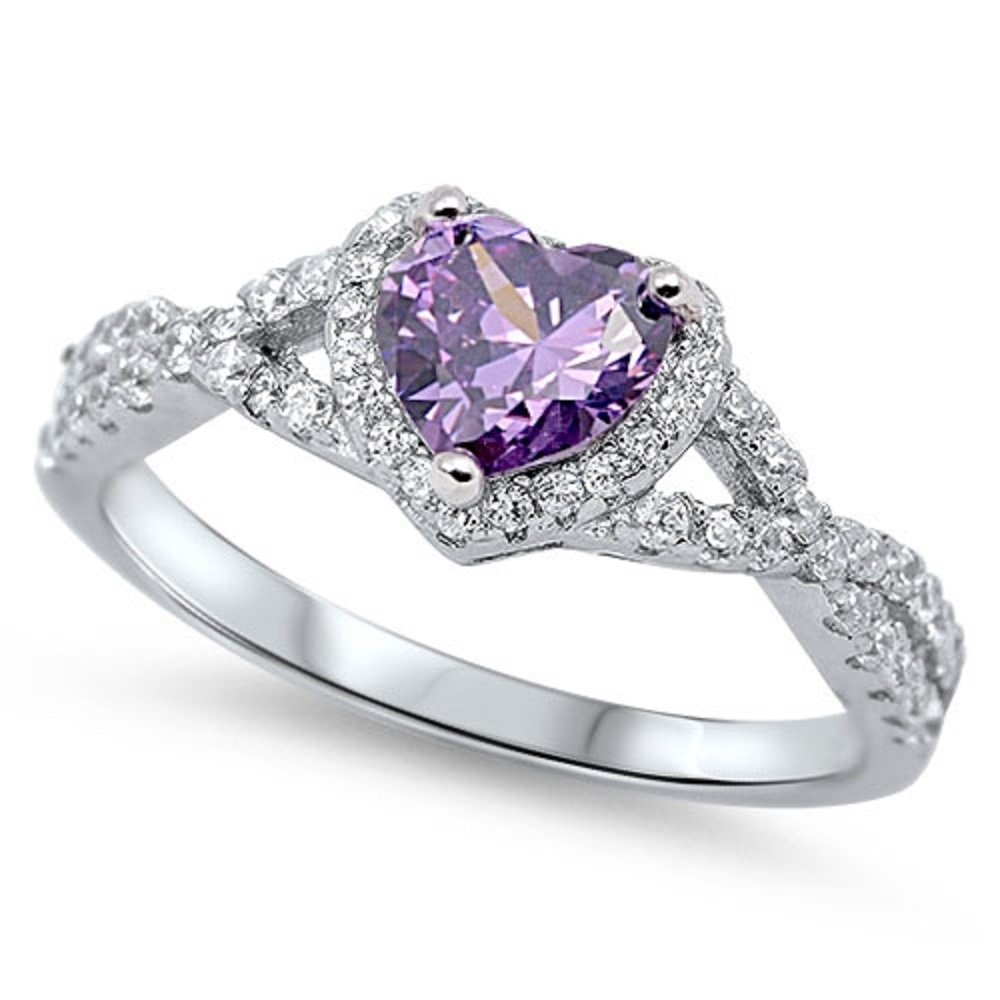 CloseoutWarehouse Simulated Amethyst Cubic Zirconia Stackable Eternity Ring Sterling Silver Size 12