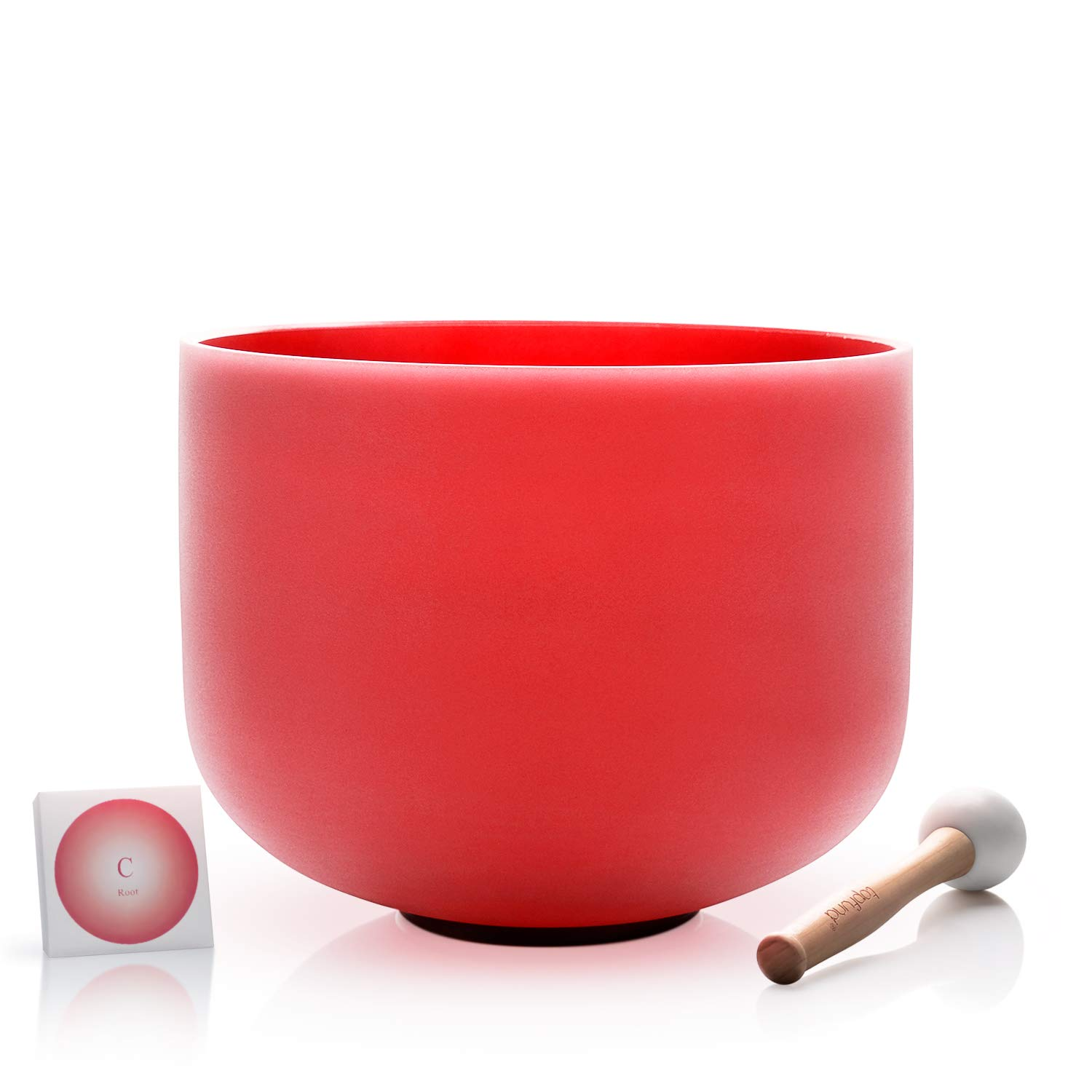 TOPFUND C Note Crystal Singing Bowl Root Chakra Red Color 12 inch O-ring and Rubber Mallet Included by TOPFUND