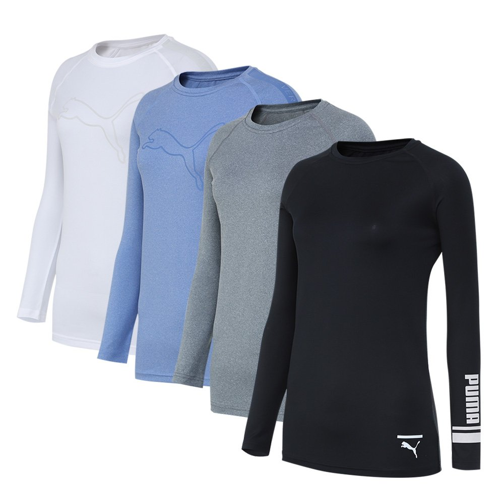 PUMA Bodywear Women's 4 Pack Cool Dry Performance Base Layer Long Sleeve Top (4 Color, XL)