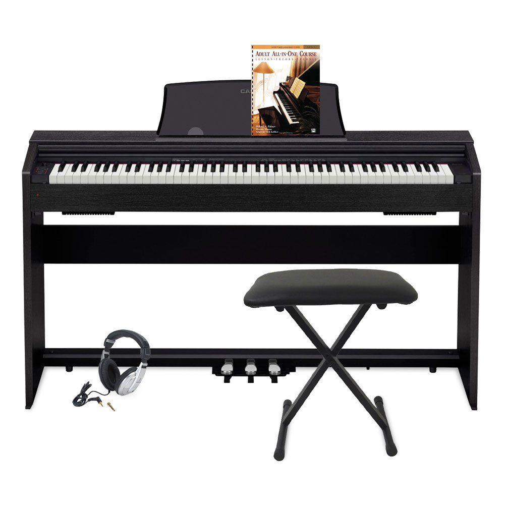 Casio PX770 BK Privia Digital Home Piano, Black with Keyboard Bench and adult All-In-One Course: Lesson-Theory-Technic: Level 1