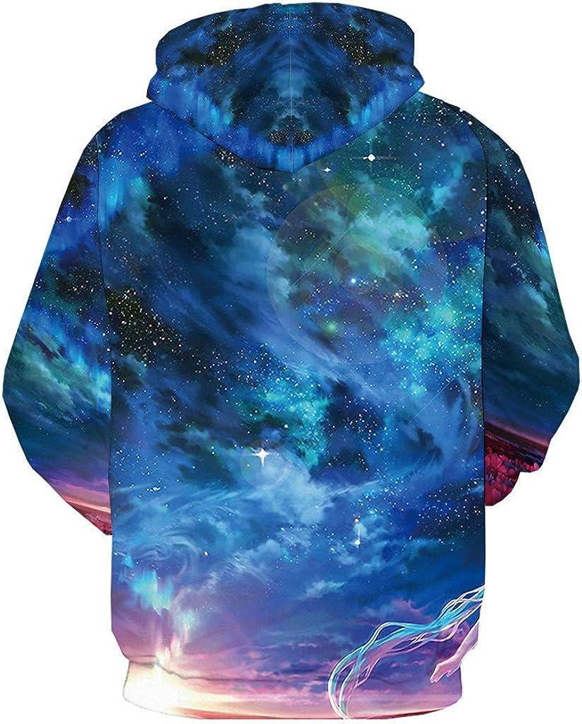 Ecurson Mens Autumn Winter Sweatshirt Casual 3D Printed Seaside Starry Sky Long Sleeve Hoodie Fashion Loose Pullover