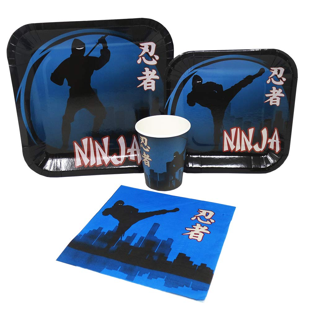Blue Orchards Ninja Standard Party Packs (65+ Pieces 16 Guests!), Ninja Birthday Supplies, Tableware, Ninja Party Decorations