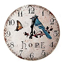 LOVE(TM)14inch Wooden Clock Shabby Chic Retro Roman Numeral Birds Branch Butterfly Hope Pattern Wooden Wall Clock Kitchen Livingroom Bedroom Decoration(14,B)(NON-TICKING,NO GLASS COVER,NO FRMAE)