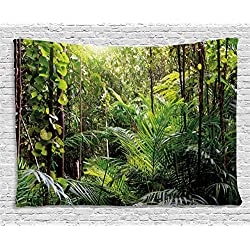 Ambesonne Green Decor Tapestry by, Krabi Thailand Forest Jungle Wild Life Nature Palms Leaves Trees Artwork, Wall Hanging for Bedroom Living Room Dorm, 80WX60L Inches, Forest Green
