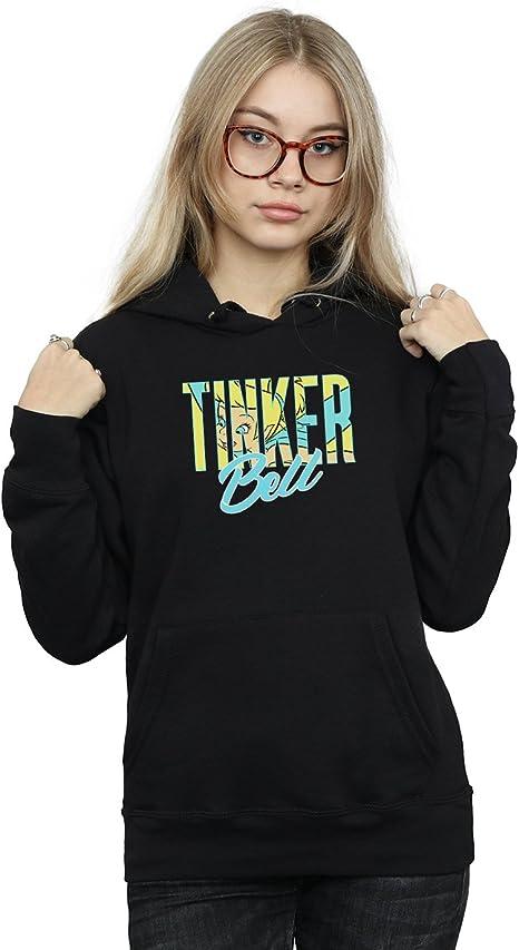 Disney Women/'s Tinker Bell Wording Infill Hoodie