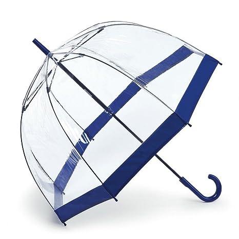 Fulton Birdcage-1 clara paraguas cúpula con azul marino frontera