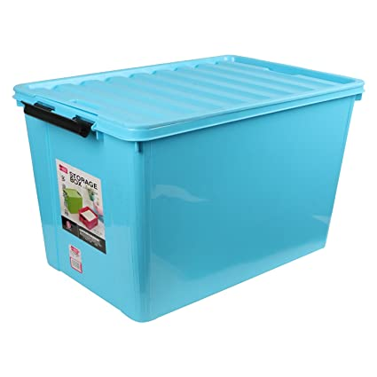 BUCKLE UP Plastic Multipurpose Storage Box With Lid, 60L (Blue, STORAGEBOX  60LITRES