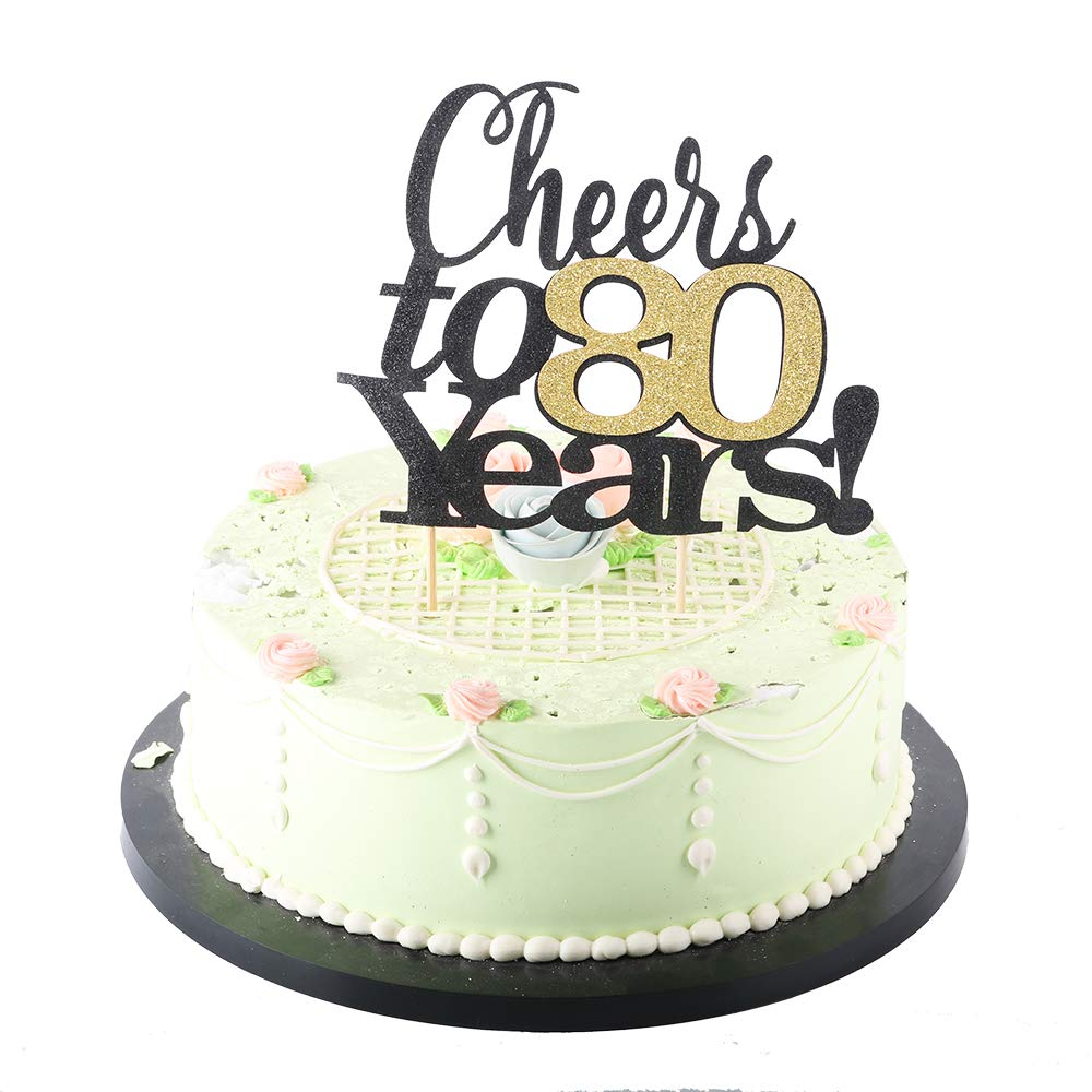 Wedding,Anniversary,Birthday Party Decorations LVEUD Black Font Golden Numbers Cheers to 60 Years Happy Birthday Cake Topper 60th