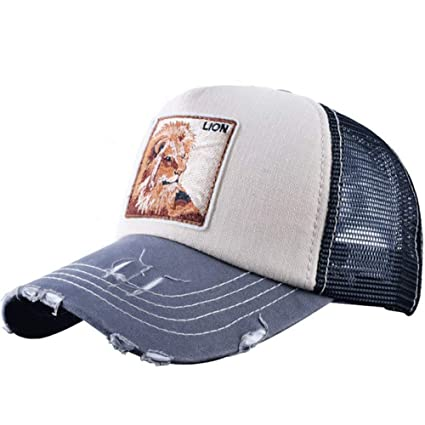 4a3dc36e Amazon.com: MAOZIJIE Male Baseball Cap Embroidery Lion Mesh Hats for ...