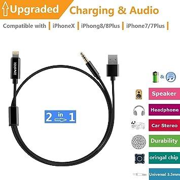 Cable de Audio de Carga 2 en 1 Compatible con iPhone 7 8 X ...