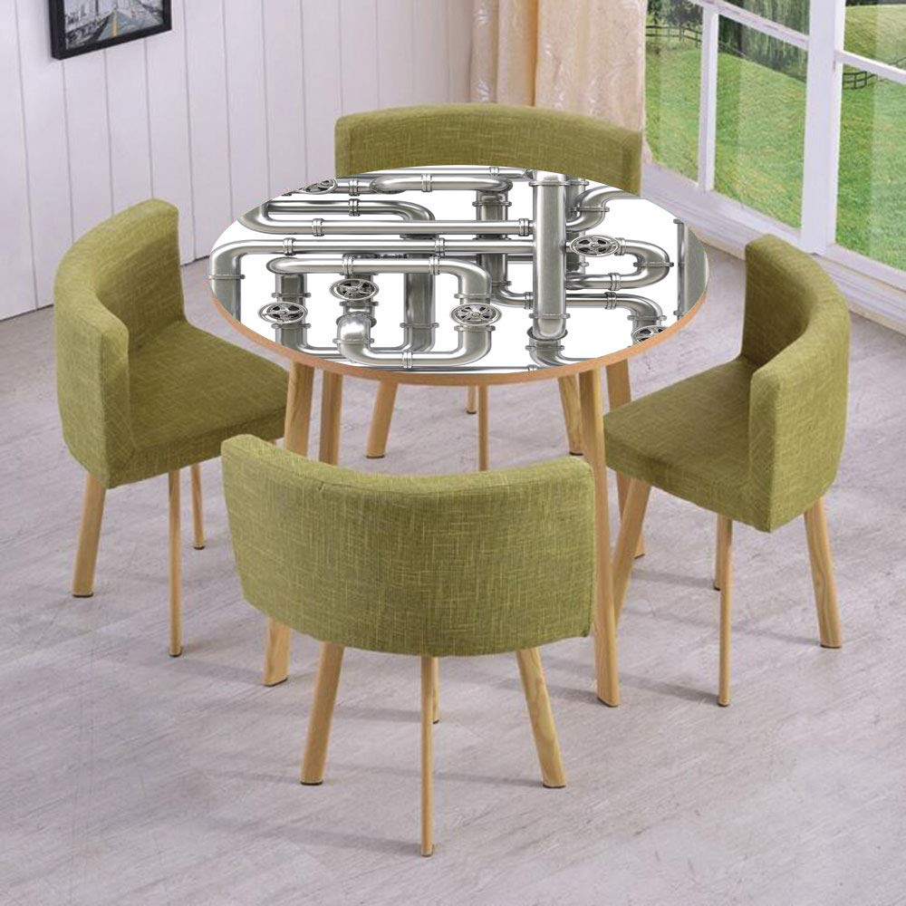 Round Table/Wall/Floor Decal Strikers/Removable/Maze of Pipelines Faucets and Valve Gasoline Engineering Themed Print Decorative/for Living Room/Kitchens/Office Decoration