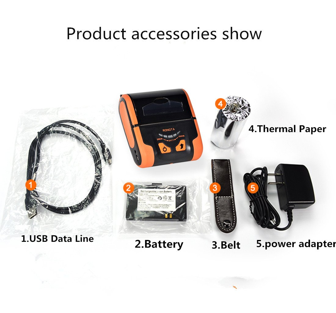 Rongta RPP300 Portable Mini 80mm Pocket Mobile POS Thermal Receipt Printer  with Bluetooth+USB interfaces,Orange Color