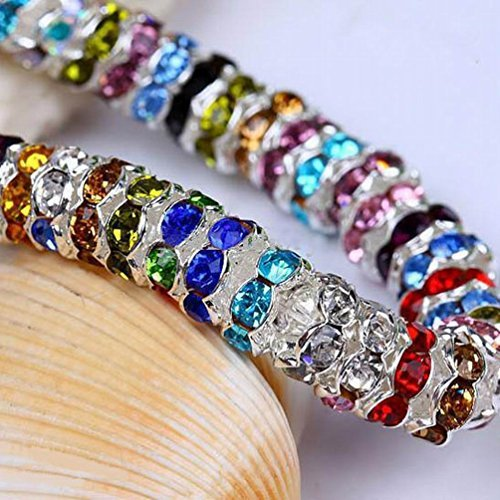 HYBEADS 100Pcs Crystal Wave edge Rondelle Spacer Bead Silver Plated 8mm (assorted)