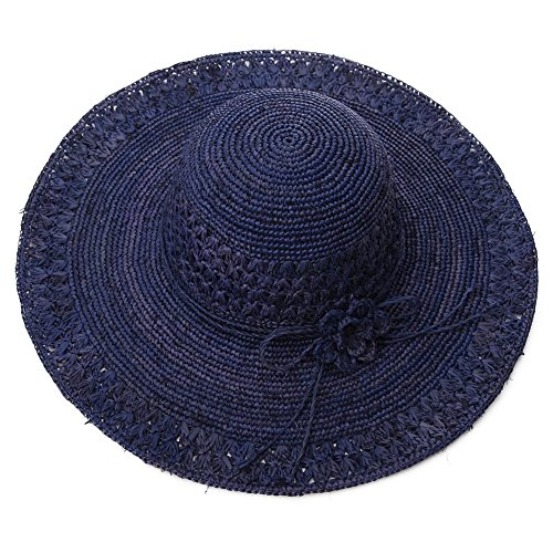 Siggi Womens 100% Raffia Straw Crochet Hat Crushable UPF Summer Beach Sun Hats 56-58CM NavyBlue