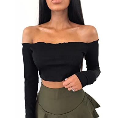 466fbd2591b32c HOMEBABY Women Off Shoulder Crop Tops, Ladies Solid Halter Long Sleeve  Blouse T-Shirt - Strap Vest Tops Tank Tops Sleeveless Summer Tops Gym Yoga  Workout ...