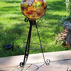 evergreen garden tall solar black metal gazing ball stand garden outdoor. Black Bedroom Furniture Sets. Home Design Ideas