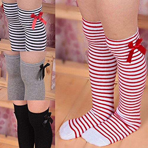 Haresle Girls Kids Knee High Socks Striped Long Socks with Bowknot (Red + White) by Haresle (Image #7)