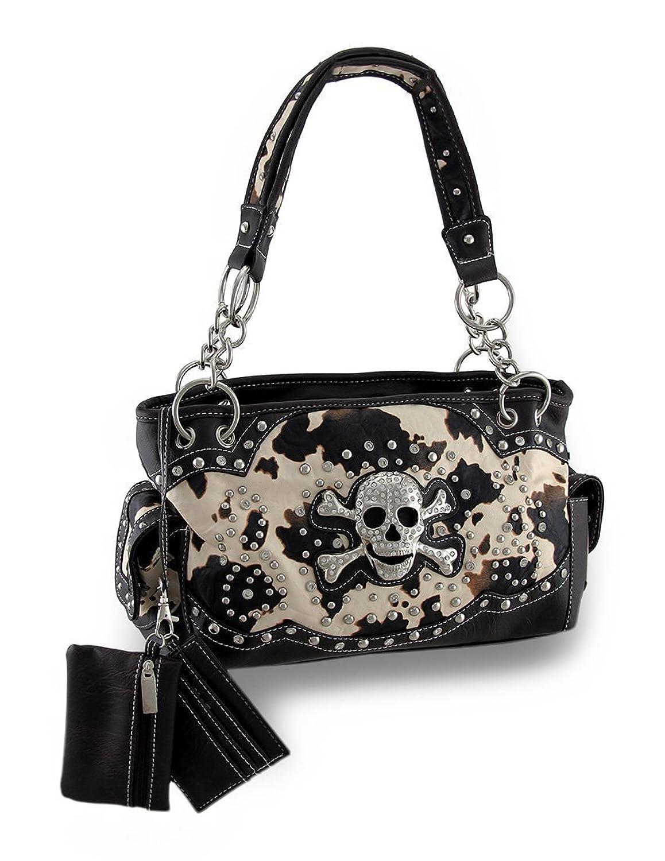 Brown and White Cow Print Rhinestone Skull Vinyl Concealed Carry Handbag