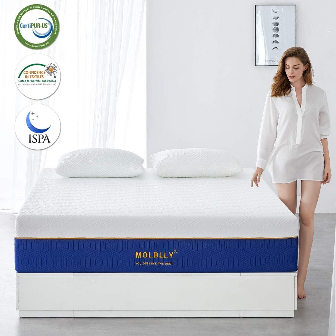 18CM Gel Memory Foam Mattress with CertiPUR-US Certified Foam Bed Mattress in a Box for Sleep Cooler /& Pressure Relief,90x190x18CM Molblly Single Mattress