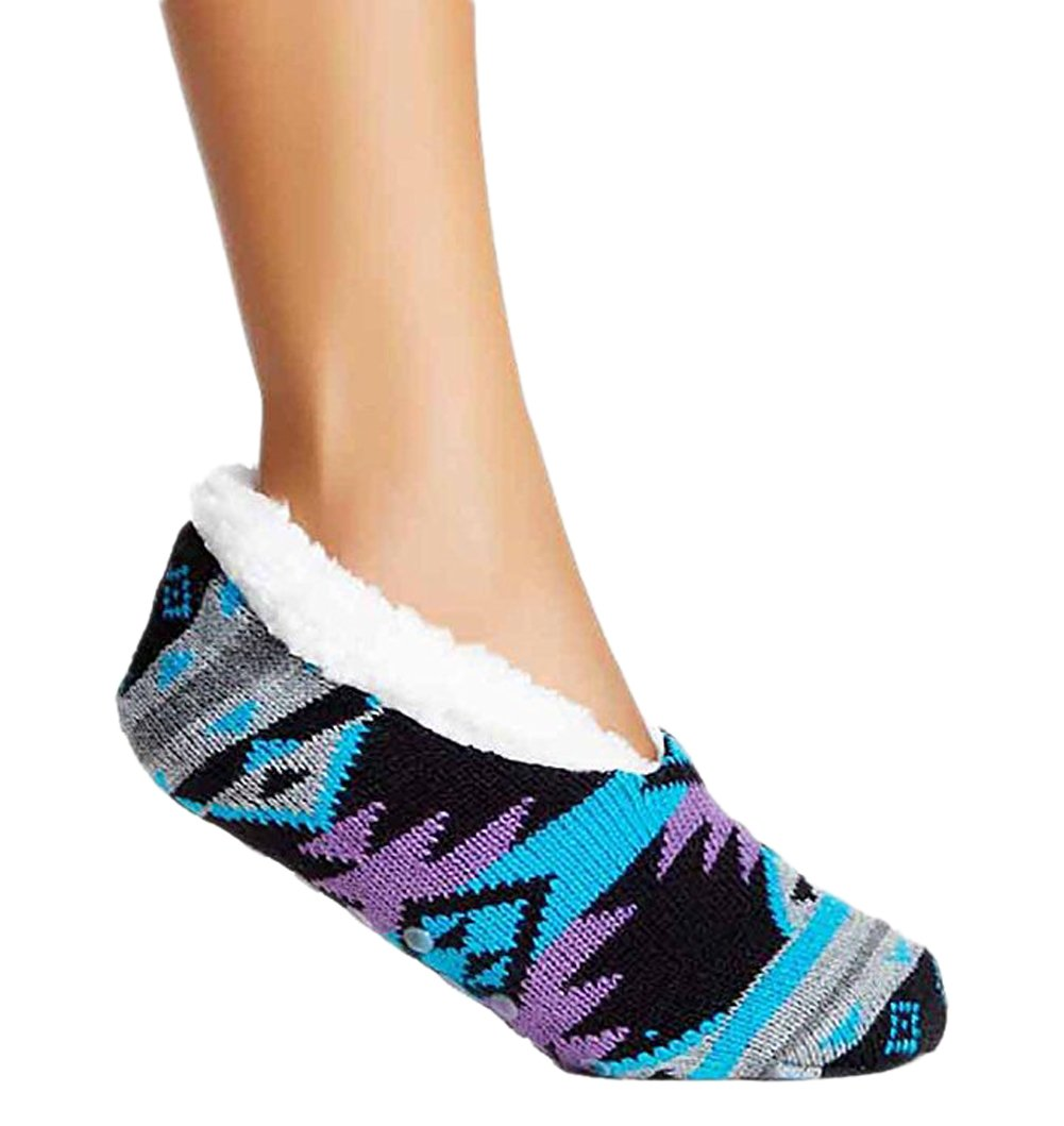 Charles Albert Womens Cozy & Comfortable Womens Slipper Socks (Small/Medium - Fits Shoe Size 5-7.5, Black Aztec)