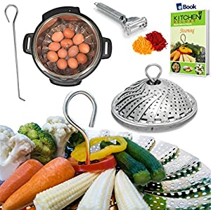 PREMIUM Vegetable Steamer Basket - BEST Bundle - Fits Instant Pot Pressure Cooker 3,5,6 Qt & 8 Quart - 100% Stainless Steel - BONUS Accessories - Safety Tool + eBook + Peeler | For Instapot - Egg Rack