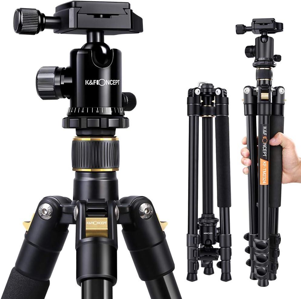 K&F Concept Trípode Completo TM2324 Trípode Flexible para Cámara Canon Sony Nikon con 360°Rótula de Bola Placa Rápida Liberación Bolsa de Transporte p