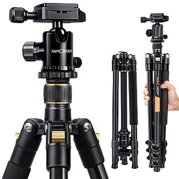 K&F Concept Trípode Completo TM2324 Trípode Flexible para Cámara Canon Sony Nikon con 360°Rótula de Bola Placa Rápida Liberación Bolsa de Transporte ...