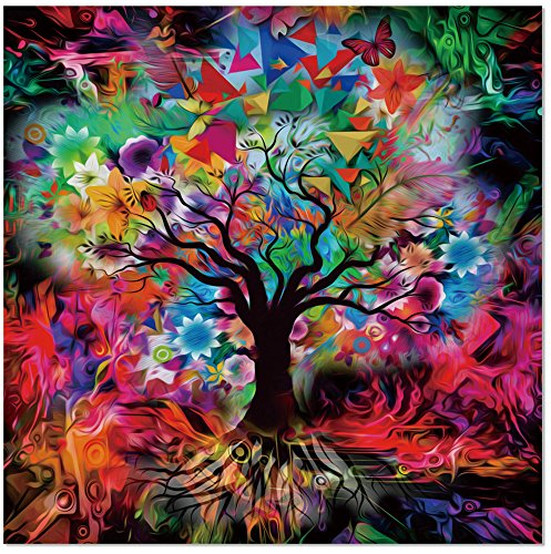 Kaleidoscope Tree Black Tempered Glass Wall Art