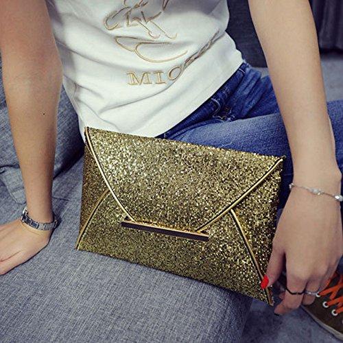 Gold Delicato Colore Con Solido In Pelle Envelope Da Di Signore Delle Borsa Bag Del Alextry Brillantini Simple Sposa Fashion Borse Della Clutch Women Partito zqTTgwP