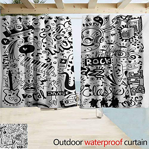 AndyTours Custom Curtain,Doodle Music Collection with an Abstract Drawing Rock Jazz Blues Genre Classic Dancing,Blackout Draperies for Bedroom,W55x39L Inches,Black White -
