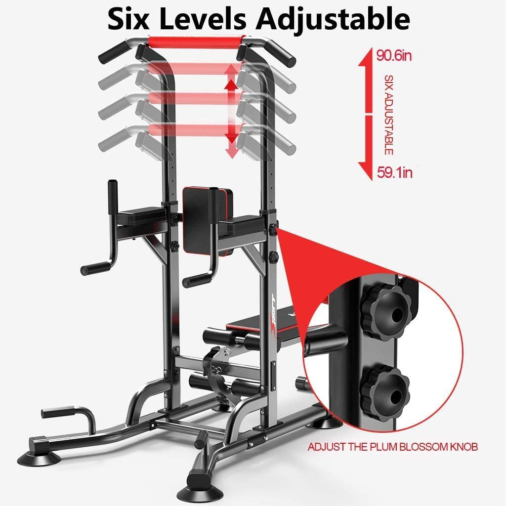 NJ508 Multi-Function Power Tower Adjustable Height Home Fitness Workout Station Dip Stands Pull up Bar Push Up