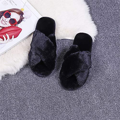 Calde 26 Cotone In Nero pantofole Incrociate Da pantofole grigio Donna Ciabatte pantofole Aperte Peluche Cm Wxmddn fodera Comoda Invernali pantofole 24cm xfIHpOqn