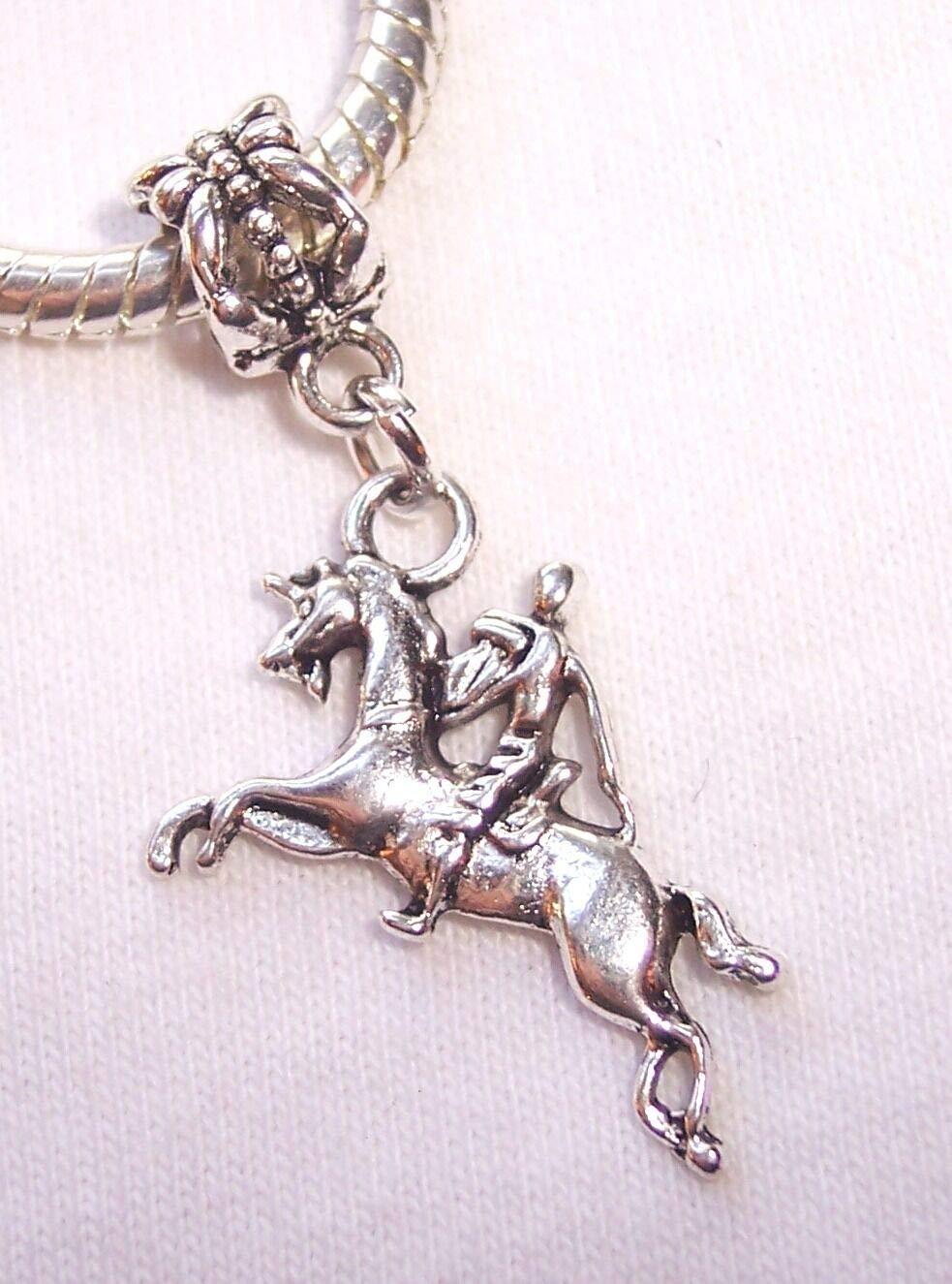 Knight on Horseback Horse Equestrian Medieval Dangle Charm for European Bracelet Fashion Jewelry for Women Man