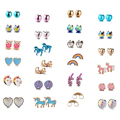 2a276a3dd Aganippe 20/24 /30 Pairs Hypoallergenic Stud Earring Set for Women Girls  Unicorn Heart Mermaid Scales Rainbow Pearls Owl Rhinestone Cute Mixed Color  ...