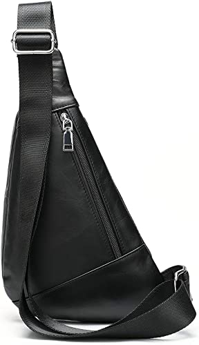 Genuine Leather Sling Bag Triangle Crossbody Bags Front Chest Day Pack One Shoulder Strap Backpack