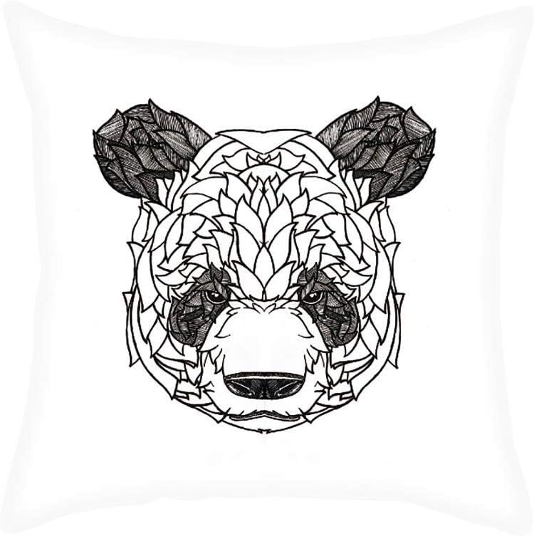 Cartoon Animal Black and White Pillow Peach Velvet Pillowcase Office Lumbar Cush Square Throw Pillow Case Cushion Cover for Home Decorative Sofa Armchair 18 x 18 inch
