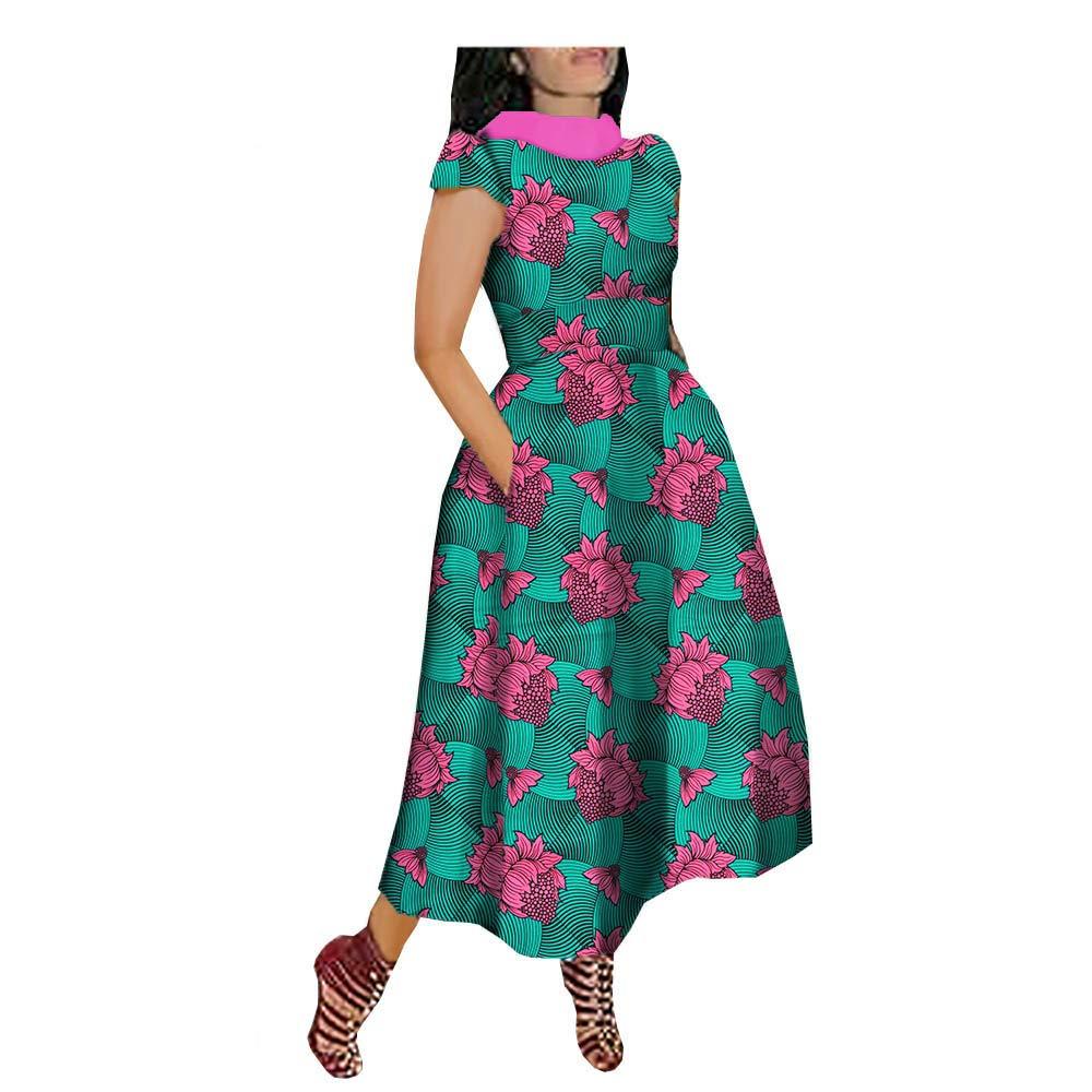 African Ankara Print Women Casual Dress V-Back Short Sleeve Turn-Down Collar Ankle-Length 100/% Batik Cotton Made AA722592