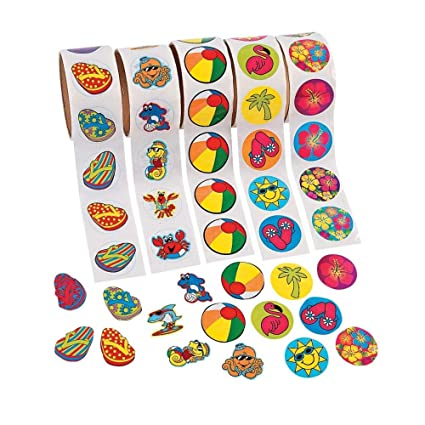 661695dc57df Amazon.com  Fun Express 500 (5 Rolls) TROPICAL Stickers HIBISCUS FLIP FLOP BEACH  BALL SEA CREATURES LUAU PARTY Theme FAVORS DECOR  Toys   Games
