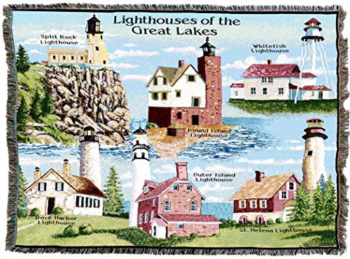 Pure Country Weavers | Lighthouses of The Great Lakes Split Rock Round Island Whitefish Rock Harbor Outer Island Saint Helena Woven Tapestry Throw Blanket Collector Gift with Fringe Cotton USA 72x54