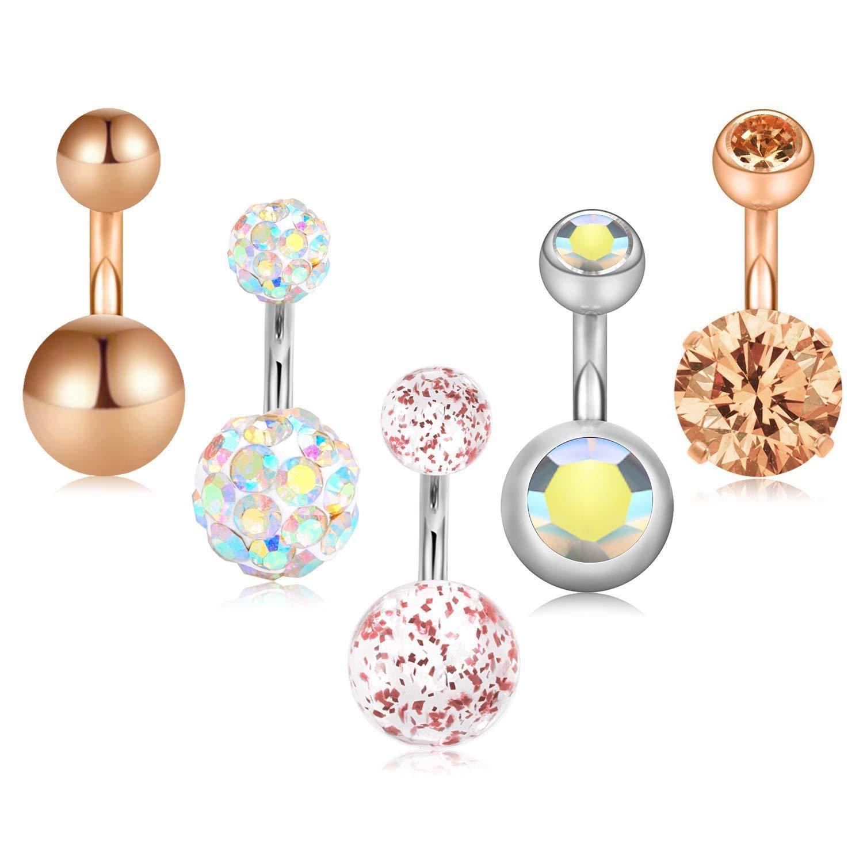 5 Pcs 6Mm 8Mm 10Mm Short Belly Button Rings Stainless Steel Petite Navel Rings For 14G Body Piercing