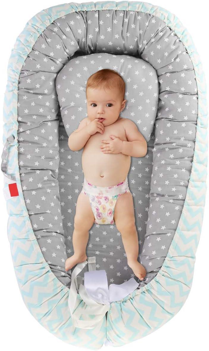 DaMohony - Cuna Portátil para Bebé Recién Nacidos Nido de Algodón Súper Suave Traspirable Tumbona para Bebés Infantiles para Viaje Dormir 0-3 Años