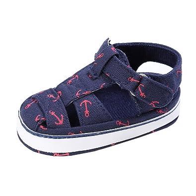 fb488672ccbaa Evedaily Bébé Garçon Fille Chaussures Premiers Pas Été Sandales Bout Fermé  Velcro en Tissu Antidérapantes -
