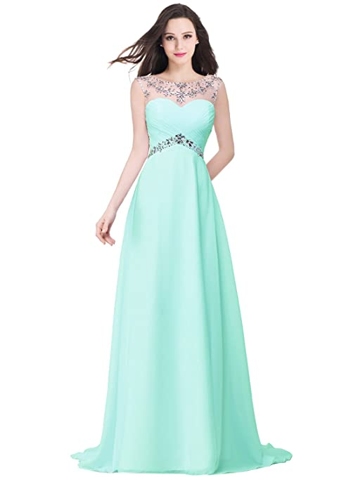 Amazon.com: Babyonlinedress Babyonline Sexy Backless Beaded Chiffon Long Evening Gown 2016 Prom Dress: Clothing