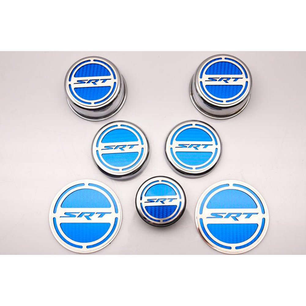 Upgrade Your Auto Chrome Cap Covers w/Bright Red Solid Vinyl SRT Inlay for 08-14 Challenger 5.7L