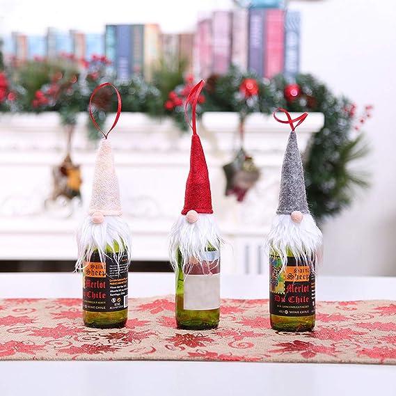 Papa Noel Navidad Botella de Vino Gorra Bolsas Decoración de la Mesa de Cena Para la Decoración Del Partido: Amazon.es: Ropa y accesorios