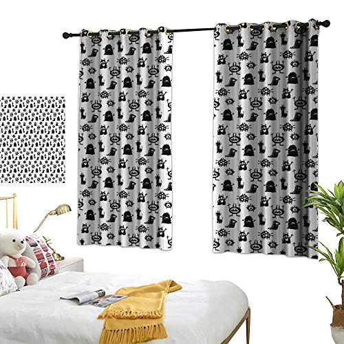 Anzhutwelve Curtains Alien,Monochrome Monster Silhouettes Childish Drawings of Otherworldly Beings Halloween,Black White W63 x L45 Curtains ()