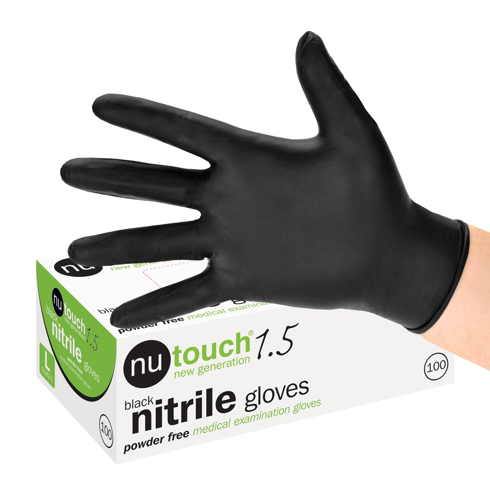 Nutouch 1.5 Black Nitrile Powder Free Disposable Gloves (Box of 100) (Small, 1)