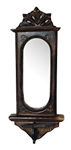 Onlineshoppee Wooden Big Candle Stand for Wall Decorative Mirror Antique Style Handicrafts