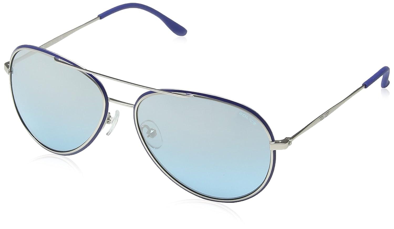 Police S8746 Legend 2 Aviator Sonnenbrille, Shiny Palladium Frame/green Mirror Lens